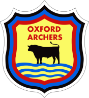 Oxford Archers shield crest with ox and river